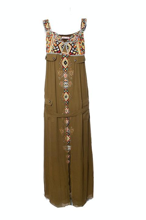 Matthew Williamson, Long green silk dress with ethnic beadwork in size UK14/L-XL.