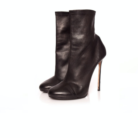 Dsquared2, black soft stretch leather ankle boots.