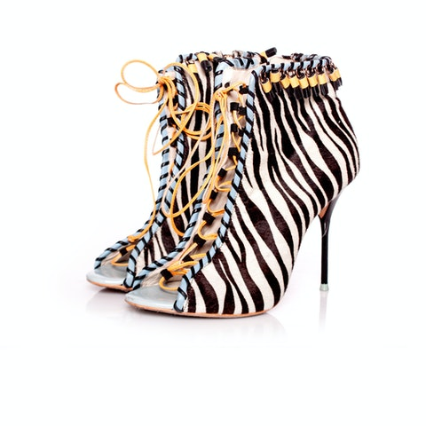 Sophia Webster, ankle boots with zebra print