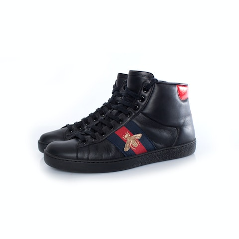 Black leather high-top trainers