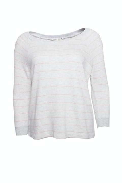 Joie, Grey sweater with pink stripes.