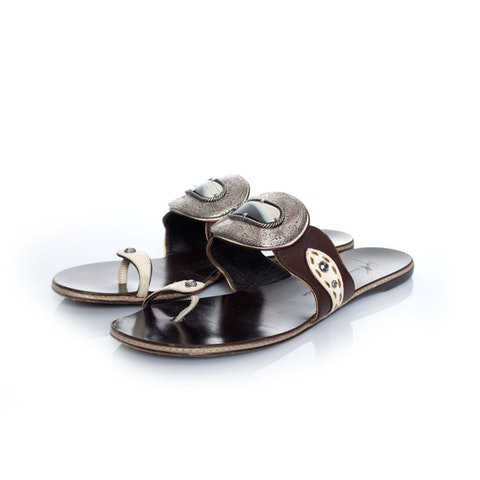 Brown Leather Sandals size 39.5 (fits one size smaller)