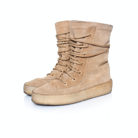 Yeezy, Suede Crepe Sole Boots in Taupe.