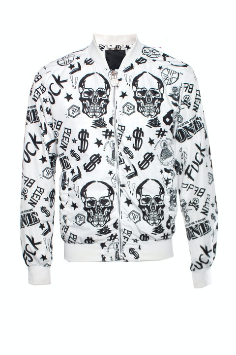 Philipp plein white bomber with black dollar/skull/text sketching in size L.
