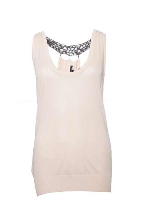 Patrizia Pepe, top with metal beads on the back.