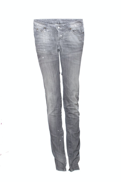 Dsquared2, Grey jeans with paint marks, small tears and zippers in size IT40/XS.