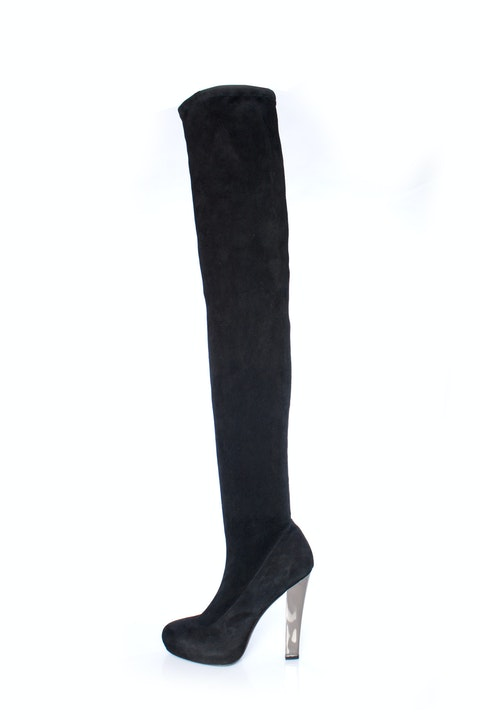 Roberto Cavalli, Black suede thigh-high boots with mirrored heels in size 40.5.