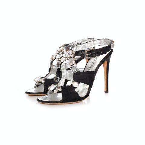 Dsquared2, black satin sandals with leather lining in size 38.
