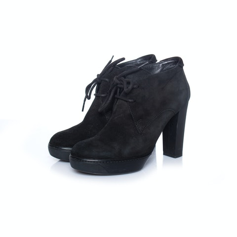 Black Suede Ankle Lace-Up Boots size 35.5
