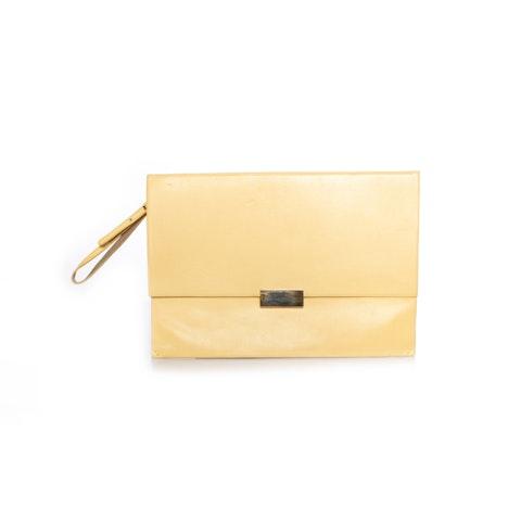 Yellow faux beckett clutch bag