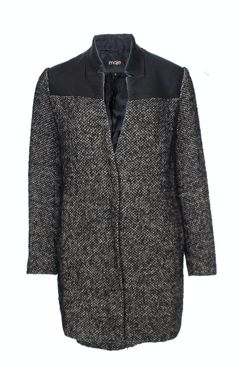 Maje, black/grey boucle jacket with leather collar in size 2/M.