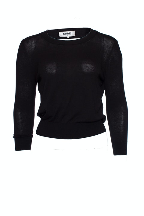 Maison Margiela, black stretch top with open back in size M.