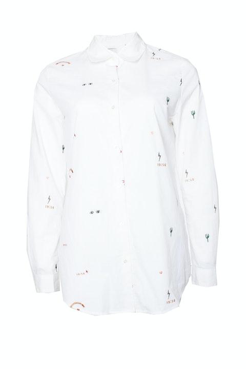 Maison Scotch, White cotton shirt with embroidery.