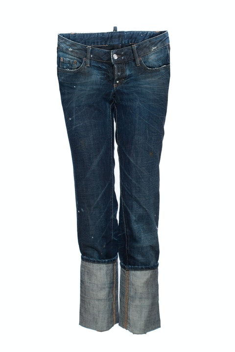 Dsquared2, Blue jeans with extra high turned pipes in size IT42/S.