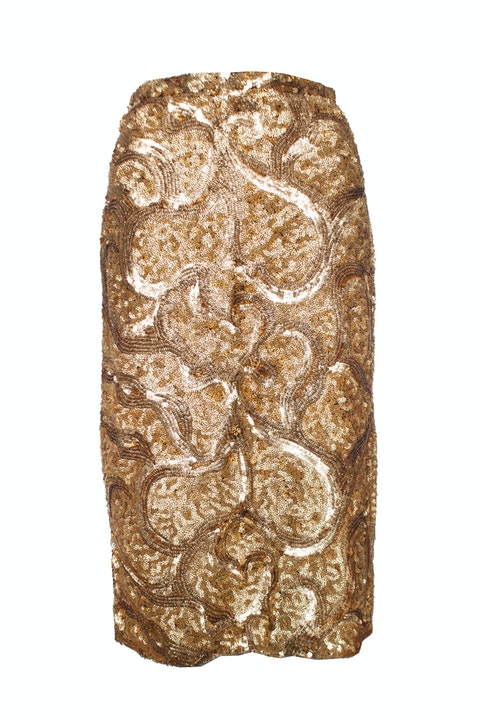 Burberry Prorsum, Gold sequinned skirt with split