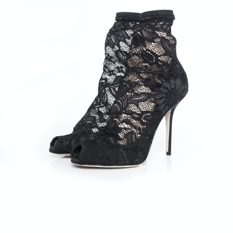 Stretch lace sock ankle boots.