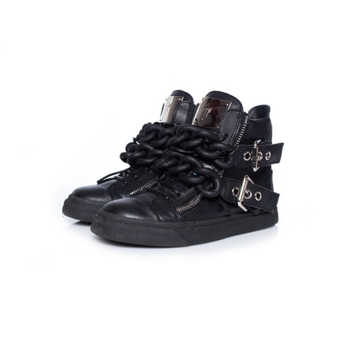 Black Leather High Top Sneakers size 36