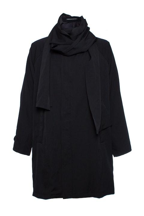 Yohji Yamamoto, Oversized coat with removable zip scarf.
