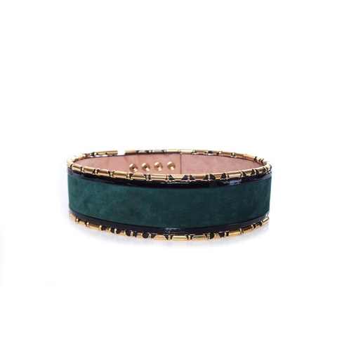 Balmain X H&M, Waist belt in Emerald suede with gold.
