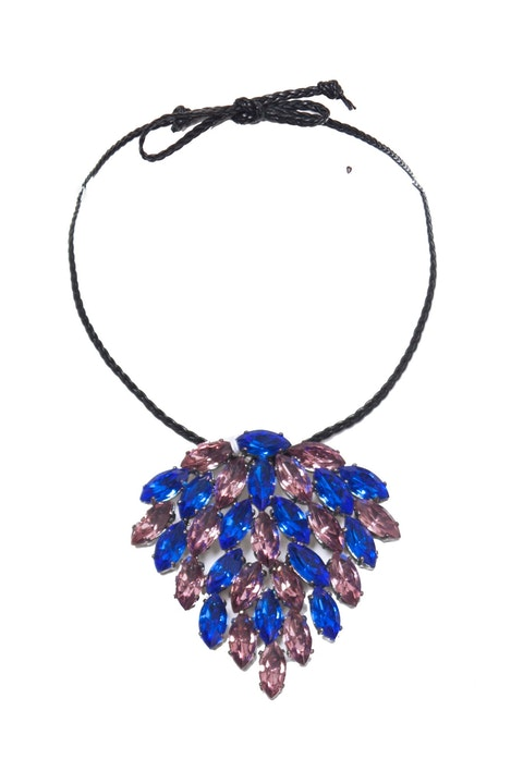 Emporio Armani, choker necklace with pink and blue stones.