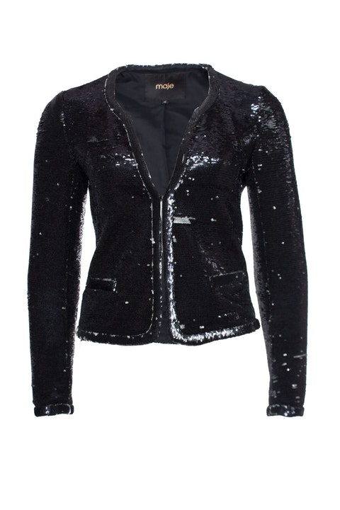 Maje, Blazer with black and silver colored sequins