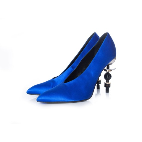 Tonight Blue satin pumps