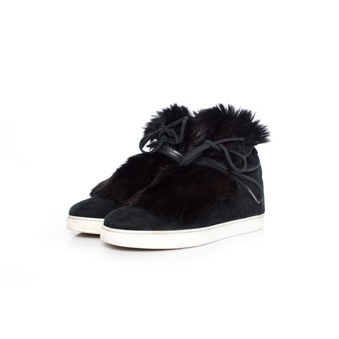 Gianvito Rossi, Inuit fur-trimmed suede sneakers