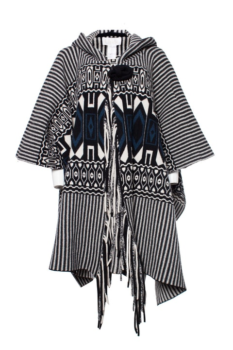 Hooded poncho with ethnic print
