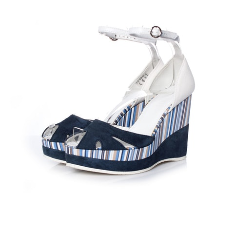 White Suede Wedges With Stripes SIZE: 36