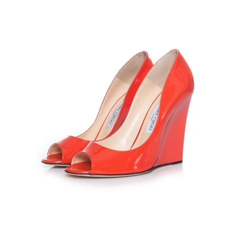 Coral Red Patent Leather Wedge size 41
