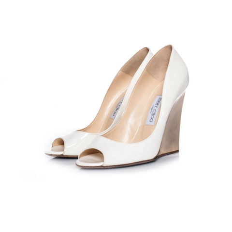 White Patent Leather Wedge size 41