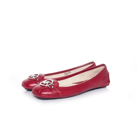 Red leather flats