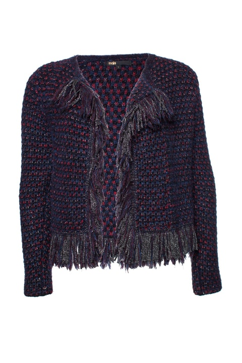 Maje, knitted cardigan with lurex and fringe.