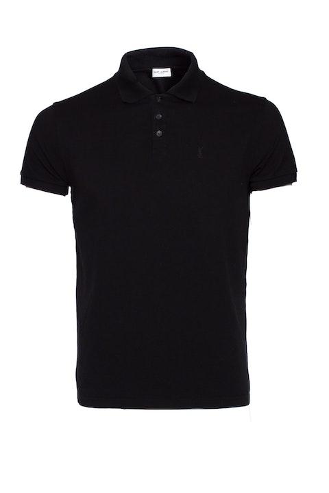 Black Cotton Monogram Polo Shirt