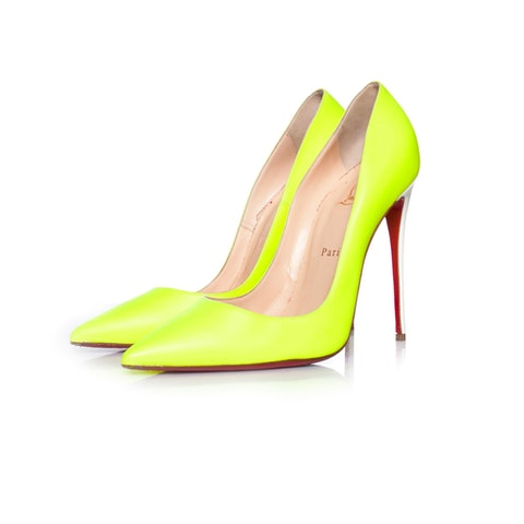 Neon Yellow Leather Pump SIZE: 40.5