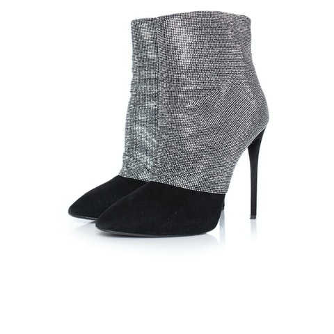 Black Crystal Mesh Ankle Boots SIZE: 39
