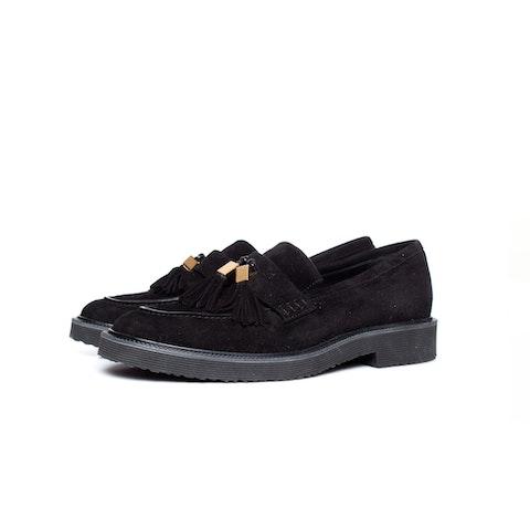 Black Suede Tassel Loafers SIZE: 41