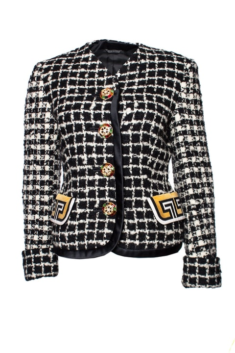 Gianni Versace Couture, Black and white boucle jacket.