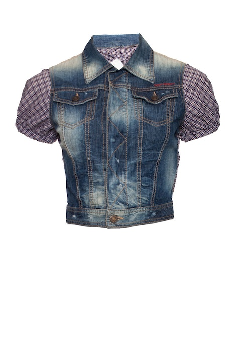 Dsquared2, Cropped denim jacket with checkered sleeves