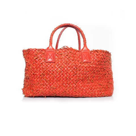 Red cabas tote with pouch.