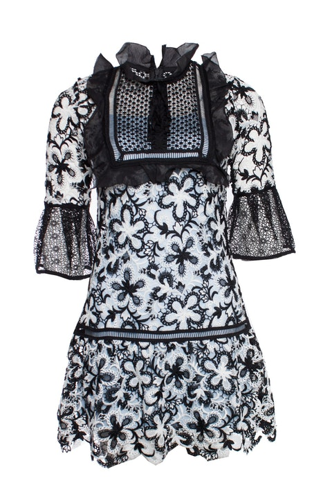Self-Portrait, black and white lace and crepe mini dress