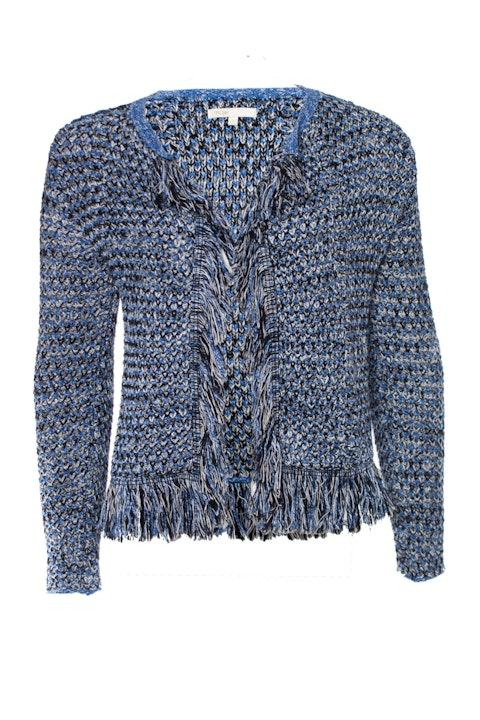 Maje, knitted fringe cardigan with lurex.
