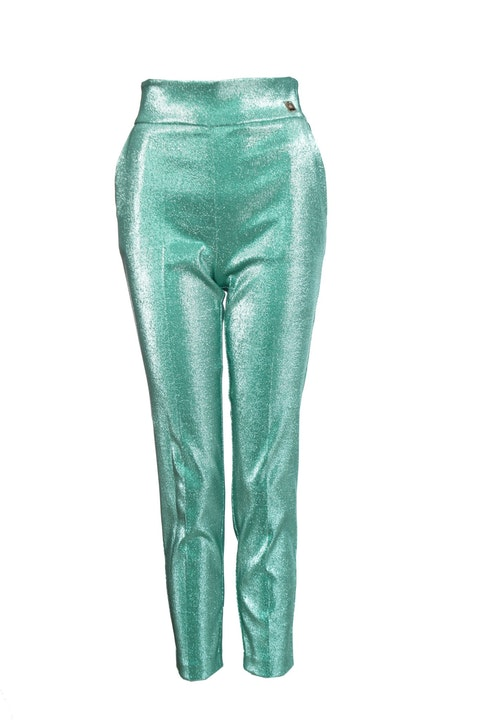 Elisabetta Franchi, green glitter trousers with stretch.