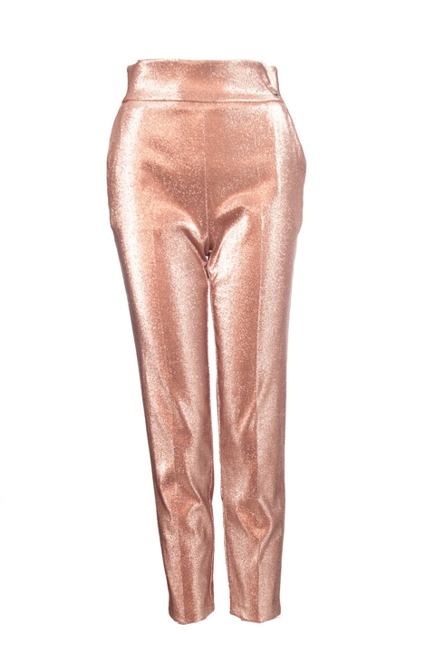 Elisabetta Franchi, Salmon pink glitter trousers with stretch.