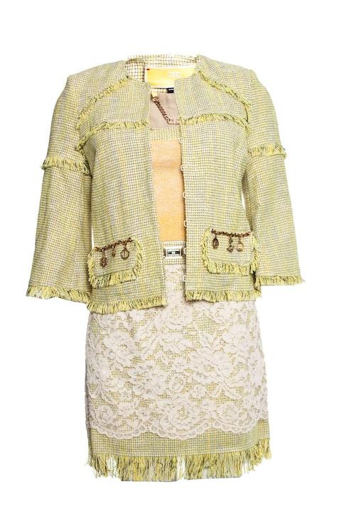 Elisabetta Franchi, Lime colored boucle suit