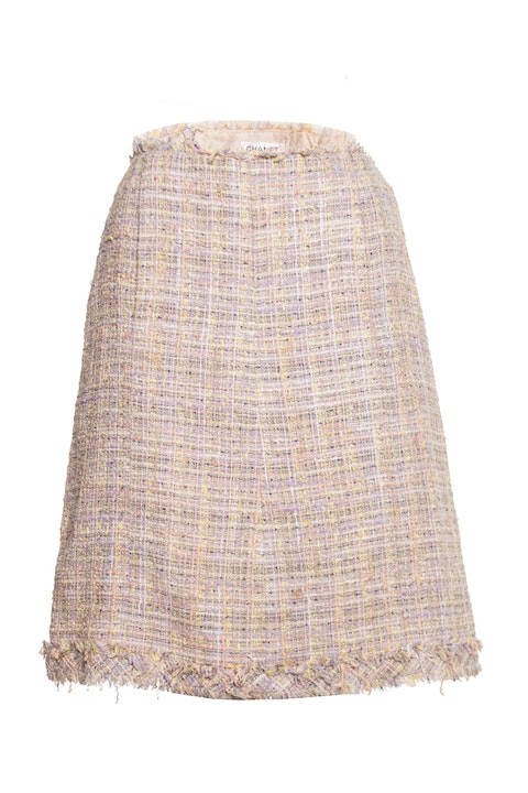Pastel colored boucle skirt.