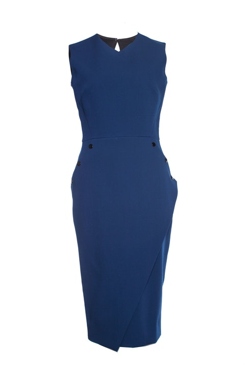 Victoria Beckham, Blue crepe dress with buttons.