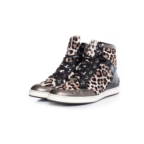 Tokyo leopard print high top sneakers.