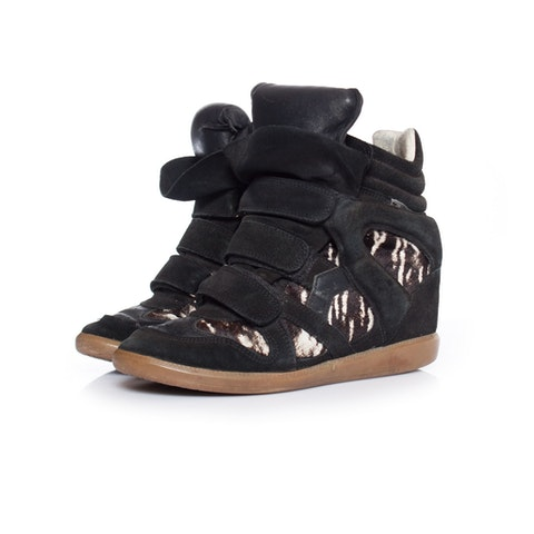 Black Leather Beckett Sneakers SIZE: 38