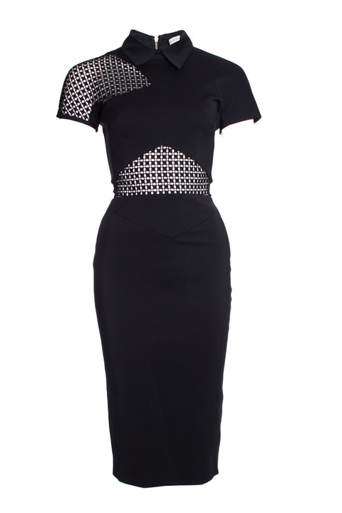 Victoria Beckham, Black graphic lace fitted dress